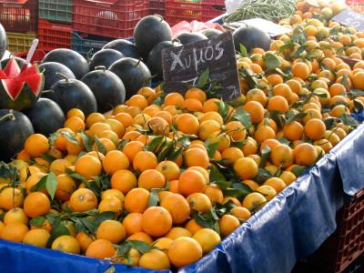 Plenty of oranges at Pagrati market, photo by Heather Hamlin