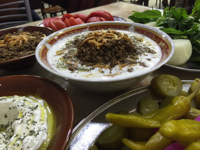 Hummus with ground meat at Abu Hassan, photo by Paul Gadalla