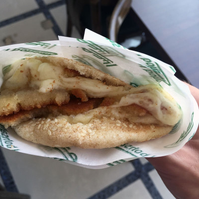 Bohsali's knefeh sandwiched in kaak, photo by Paul Gadalla