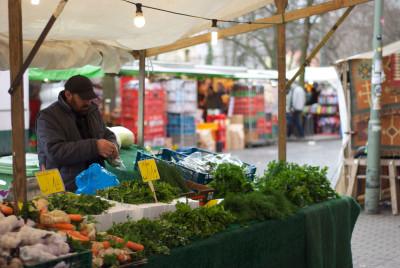 A vegetable seller at Türkenmarkt, photo by Luisa Weiss