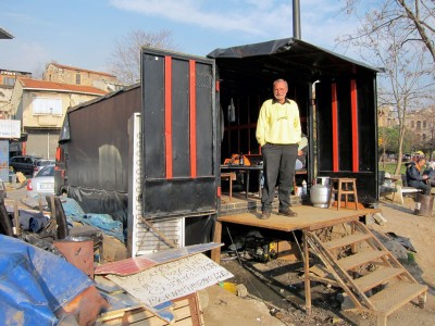 Osman in front of his tea truck, photo by Ansel Mullins