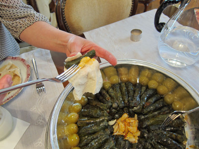 Grape leaves stuffed with bulgur, photo by Ansel Mullins