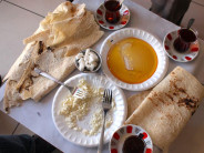 Breakfast at Yalçın Kaya's cheese shop in Erzincan, photo by Yigal Schleifer