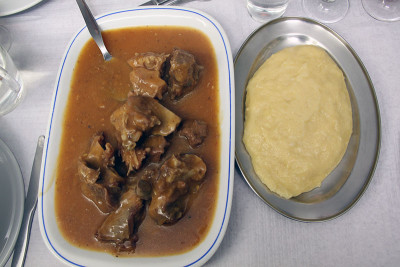 Goat stew and funge at Palanca Gigante, photo by Francesca Savoldi