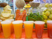 Pick up a ready-made juice or choose among the fruits and vegetables, such as nopales, or cactus paddles, to customize your own juice or eskimo.
