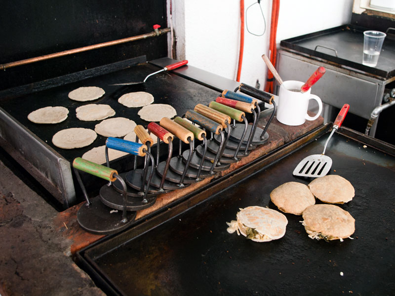 Gorditas being grilled at Las Laguneras, photo by Ben Herrera