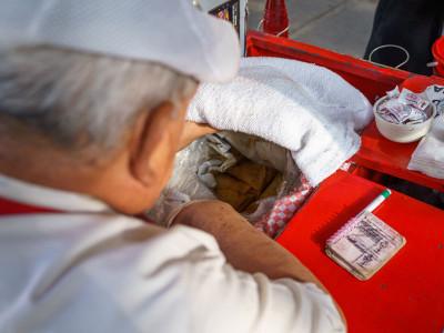 Inside the canasta (basket) at Tacos de Canasta La Abuela, photo by PJ Rountree