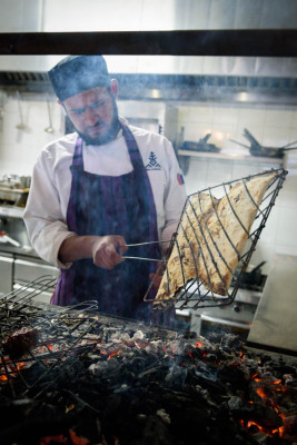 Grilling tlayudas at Aguamiel, photo by PJ Rountree