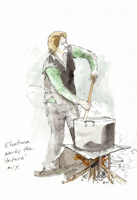 Mixing the tatara to make churchkhela, illustration by Andrew North
